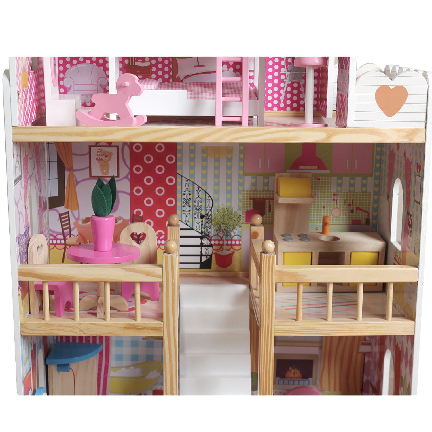 Mb Wooden Kids Doll House With 17pcs Furniture Staircase Barbie Dolls House Ebay