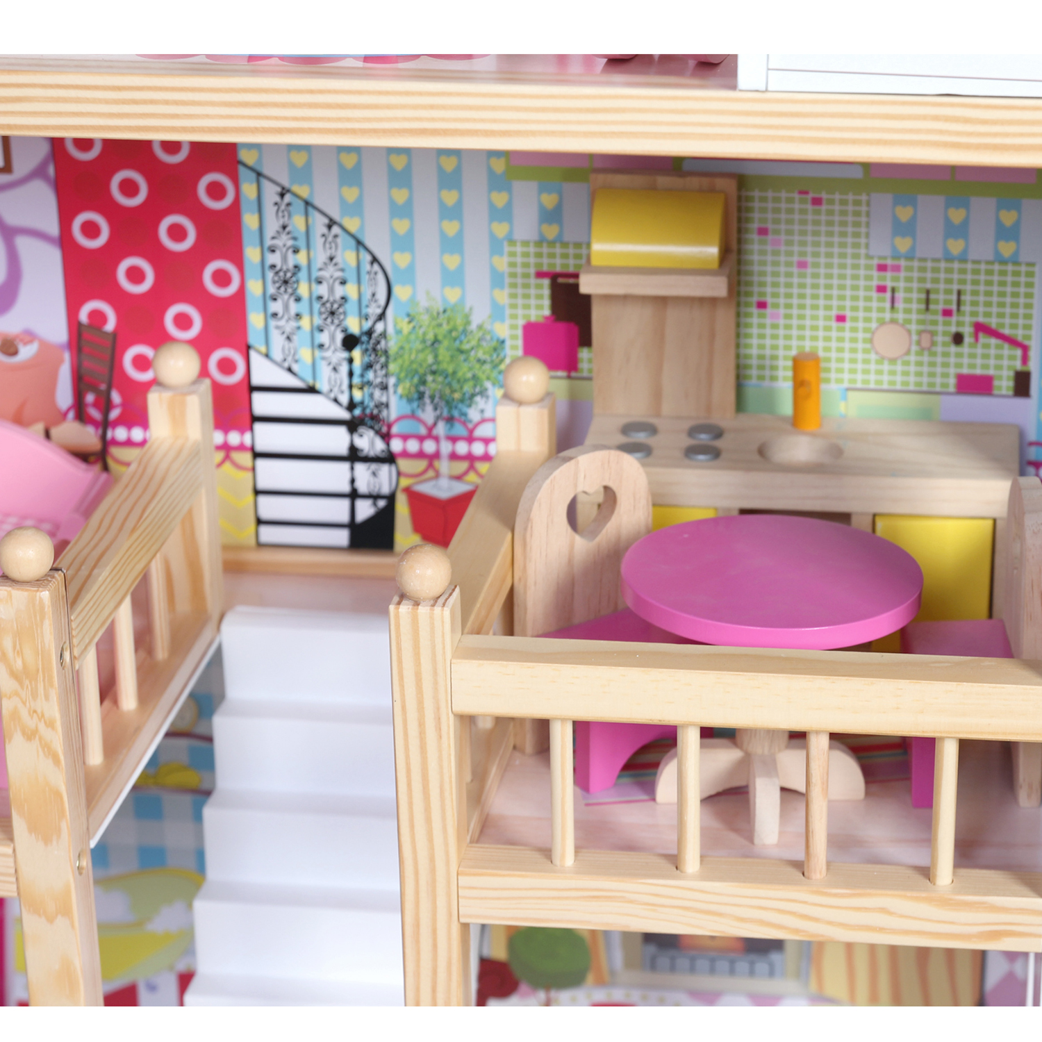 Modern Wooden Kids Dolls House Large Dolls House 17pcs Furniture Doll House Ebay