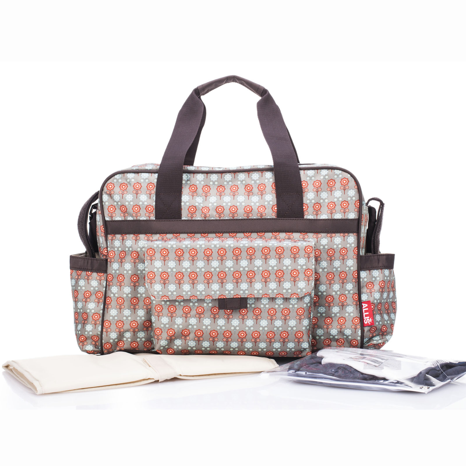 allis baby changing bag luxury nappy diaper bags 3pcs insulated red grey ebay. Black Bedroom Furniture Sets. Home Design Ideas