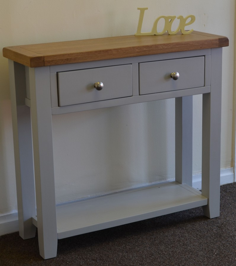 Gentil Dorset French Grey Painted Oak U0026 Pine 2 Drawer Console Table FREE DELIVERY!!