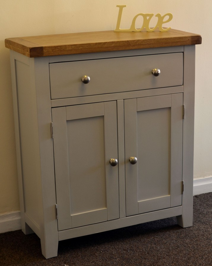 Dorset French Grey Painted Oak Pine 2 Door Slim Sideboard Hall Cupboard  Cabinet