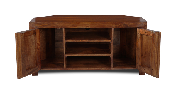 Dakota Dark Mango Wood Corner Tv Unit 45n Ebay