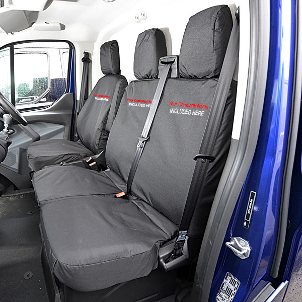 SEAT COVERS PREMIUM BLACK FABRIC TAILORED TO FIT FORD TRANSIT CUSTOM 2013